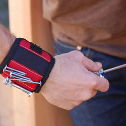 Pulseira magnética Cinto Bolsa Saco Kit De Ferramentas Ferramenta de Bolso Prático Arm Band Wrist Cinto Titular Parafusos Segurando Ferramentas 2/3 ímãs