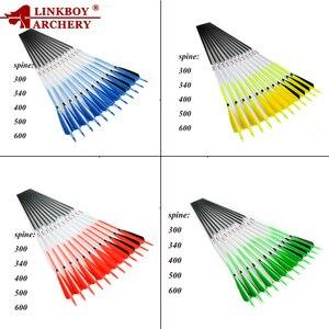 Image 2 - 12 adet Linkboy okçuluk karbon ok sp500 32 inç türkiye tüy hedef noktası 75gr ipuçları Nock geleneksel Longbow yay avcılık