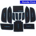 12 Pcs Car Door Gate Slot Mats Carpets Position Cup Holder Pads For Honda Civic 2011 2012 2013 2014 2015 Door Groove Mat