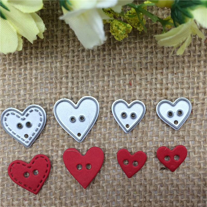 4pcs Heart Button Metal Cutting Dies Stencil Scrapbooking Photo Album Card Paper Embossing Craft DIY