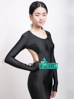Free Shipping Sexy Black Front Zipper Catsuit Jumpsuit Second Skin Tight Zentai Backless Long Sleeve Unitard Leotard Bodysuits