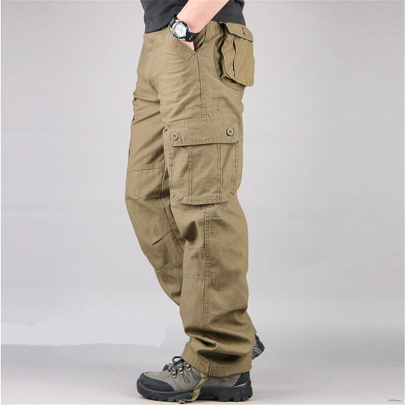 Men's Cargo Pants Male Casual Loose Combat Multi Pockets Military Tactical Pants Men Army Straight Slacks Trousers Plus Size 44