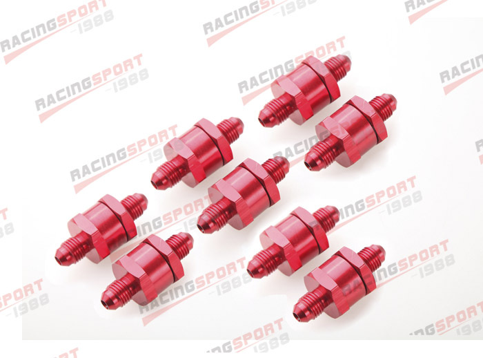 ФОТО 8pcs 4AN Fuel Non Return One Way Check Valve Petrol Diesel Aluminium Alloy OWV-06-RED-8