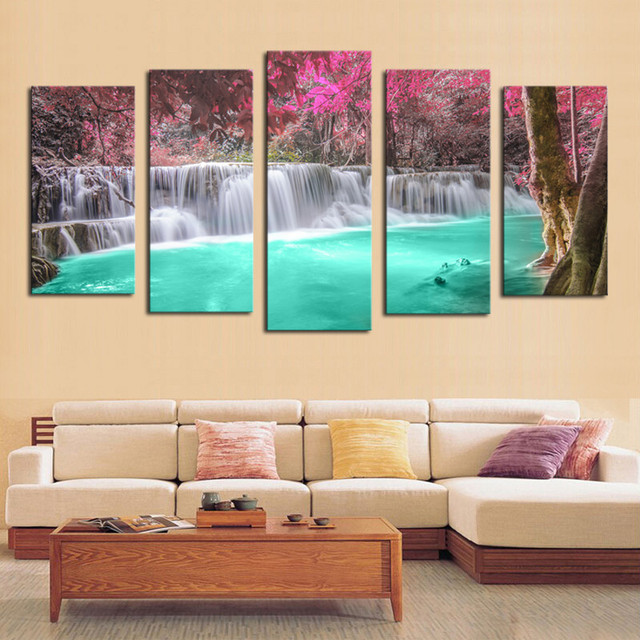 5 Panel Wall Pictures for Living Room Art Pink Waterfall Canvas Painting Modular Picture Posters and Prints Cuadros Decoracion