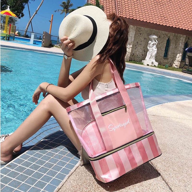 Image 3 - Female Tote Handbags Women Summer Beach Bag Designer Travel Luggage Shoulder Bags Wet Dry Separation Handbag Sac a main-in Shoulder Bags from Luggage & Bags