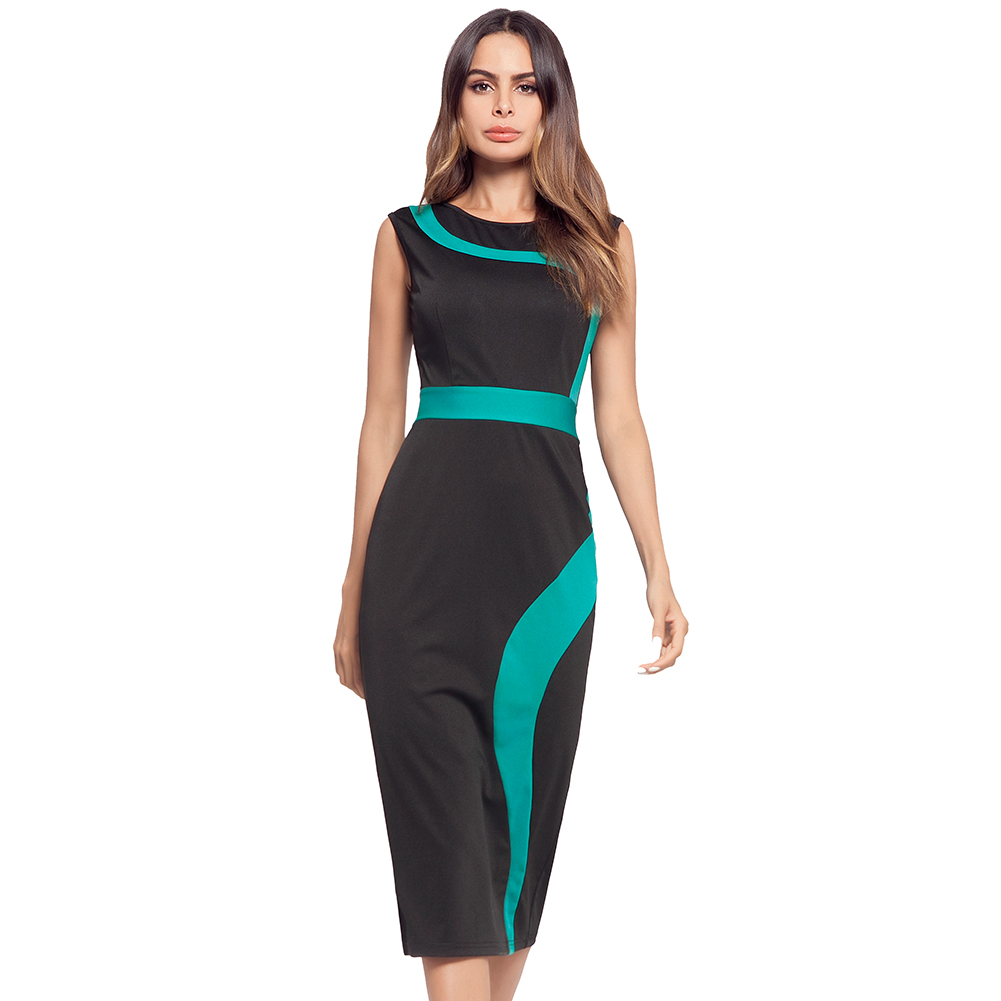 Women Round Neck Body con Midi Dress Sleeveless Pencil Dress Work Dress