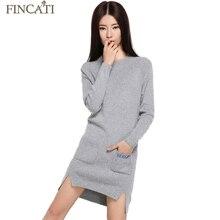 Fincati Для женщин Демисезонный Длинные кашемира свитер с круглым вырезом Разделение асимметричный подол новые модные Дизайн трикотажные Платья для женщин