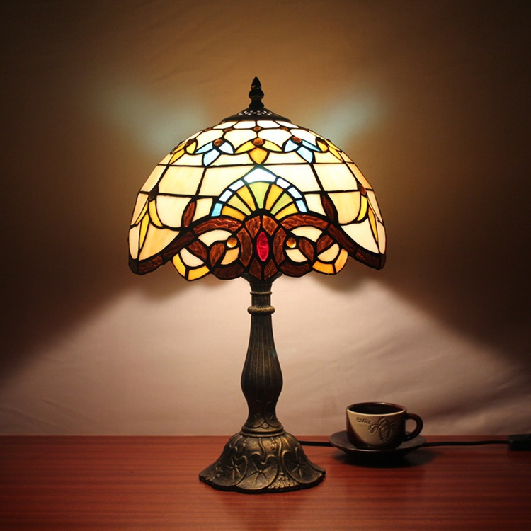 12 Inch Dragonfly Baroque Stained Glass Lampshade Tiffany Table Lamp Country Style Bedside Lamp E27 110-240V tiffany baroque sunflower stained glass iron mermaid wall lamp indoor bedside lamps wall lights for home ac 110v 220v e27