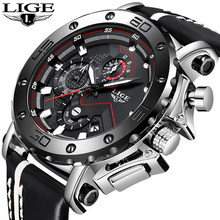 Genuine LIGE To Brand Quartz Male Watches Casual Leather Watches Racing Men Students Game Run Chronograph Sport Watch Glow Hands(China)