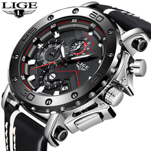 Genuine LIGE To Brand Quartz Male Watches Casual Leather Watches Racing Men Stud