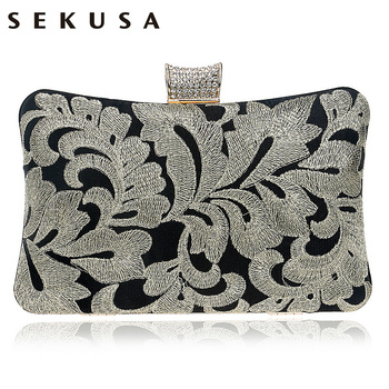 SEKUSA Vintage Embroidery Clutch Diamonds Luxurious Women Evening Bags Chain Shoulder Purse Evening Bag For Evening Dress Bag