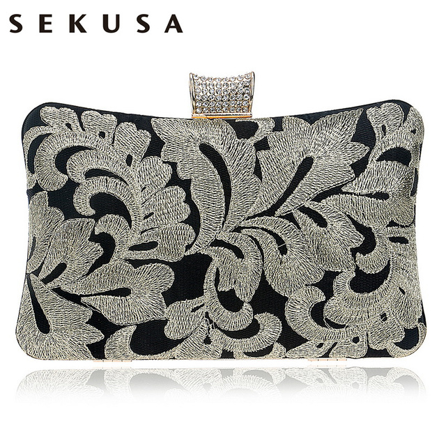 SEKUSA Vintage Embroidery Clutch Diamonds Women Evening Bags Chain Shoulder Purse Evening Bag For New Year Christmas Gift Clutch
