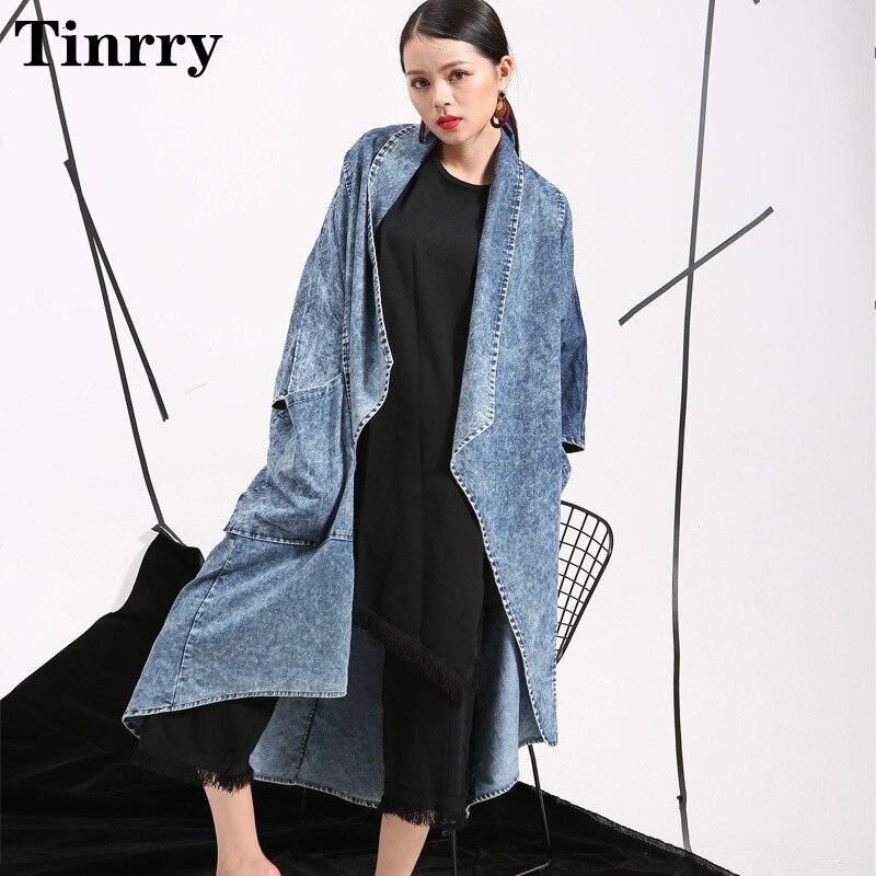 2019 spring and autumn women's fashion new bat nine-point sleeve cardigan denim long loose large size women's jacket
