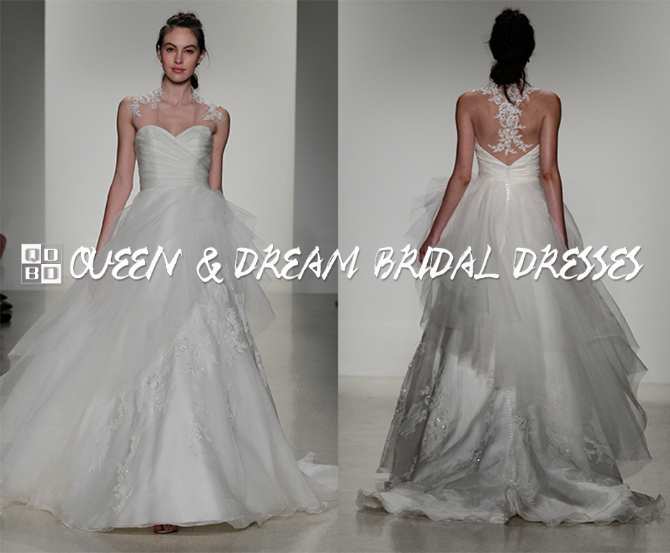 Unique Lace Wedding Dress Tulle Organza Beaded Lace A Line