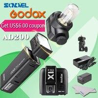 GODOX AD200 ttl 2,4G Вспышка для фотокамер Speedlite HSS 1/8000 s карманный фонарь, фонарь флэш память Lightning + GODOX X1T C ttl Беспроводной передатчик для готовность