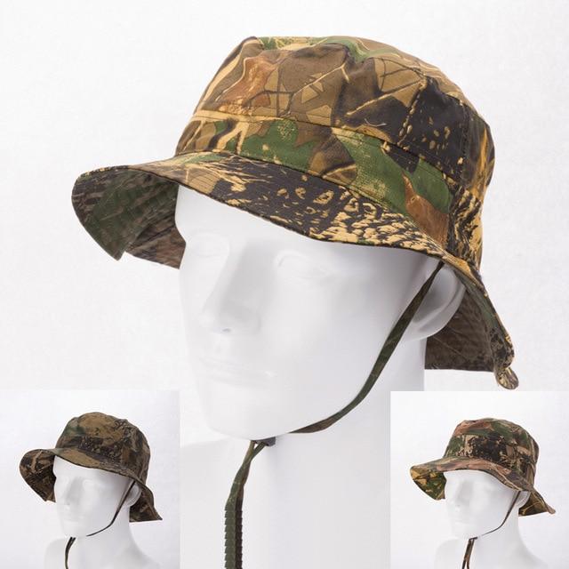 Grosir BARU Mens Camo Ember Topi dengan Tali Untuk Pria Kamuflase Cotton Bucket  Topi Menjalankan Fishing 9dedc77b98