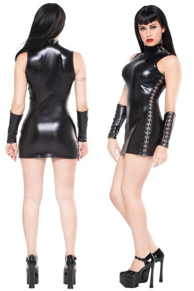 Leather Bodysuit Bodycon Mini Dress Clubwear