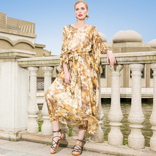 купить Silk print butterfly sleeve bohemian beach dress 2018 new runway women summer dress high quality office lady a line long dress по цене 10575.31 рублей