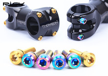 RISK 6pcs M5*16/18mm Titanium Alloy Bike Stem Bolt Mountain Road Ultralight Screw with Washers Gasket Colorful