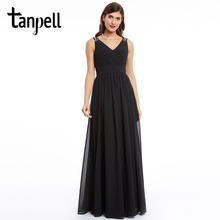 Tanpell black v neck prom dress lace ruched floor length a line dress 2017 new cheap women sleeveless long graduation prom gown