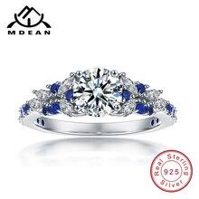 MDEAN Simulated Jewelry 925 Sterling Silver Wedding Rings for Women Blue AAA Zircon Bague Bijoux Size 5 6 7 8 9 10 MSR489