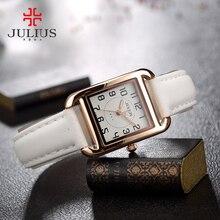 Nuovo julius signora orologio del quarzo del giappone ore vestito da modo delle donne piazza braccialetto di cuoio della ragazza di compleanno di natale scatola regalo carino
