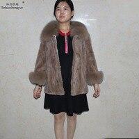 Linhaoshengyue Настоящее Норковое меховое Женское пальто зимнее меховое пальто с натуральным лисьим меховым воротником