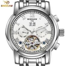 BINSSAW Men Automatic Mechanical Watches Luxury Brand Fashion Tourbillon Stainless Steel Business Sports Watch Relogio Masculino стоимость