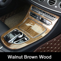 Walnut Brown Wood For Mercedes Benz E Class W213 2016 2017 ABS Console Gear Panel Frame