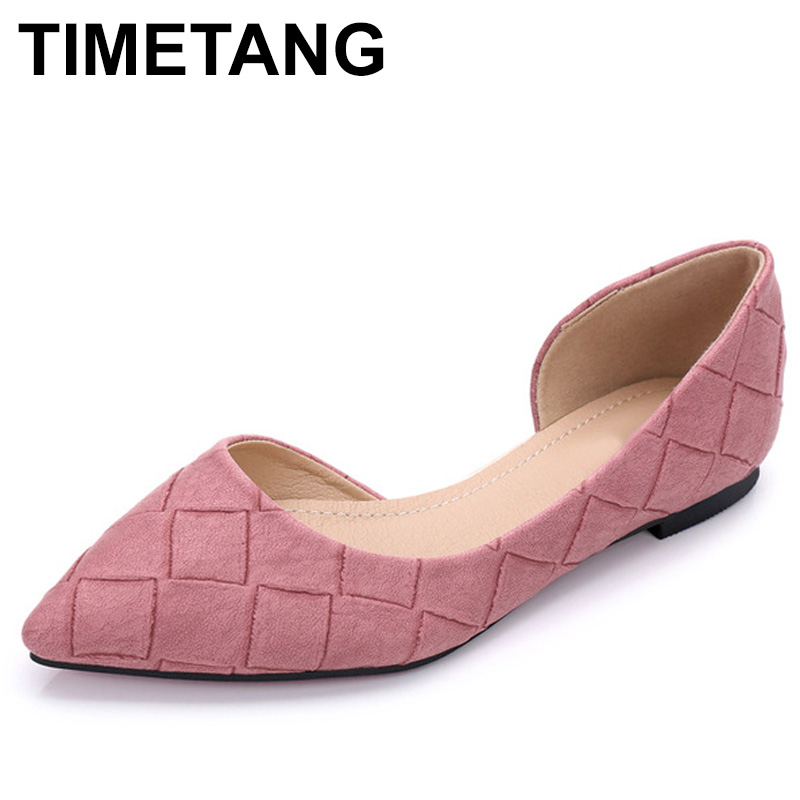 TIMETANG Spring Summer Flats Shoes Women Pointed toe Flats Fashion Women's Boat Shoes Ladies Brand Shoes C188 pu pointed toe flats with eyelet strap