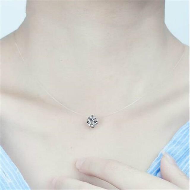 RONGBIN Simple Transparent Thin Lines Rhinestone Pendant Tattoo Choker Necklace For Women Charm Fashion Collar Bijoux Jewelry