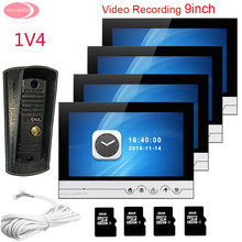 "On sale For 4 Apartments 9"" Home Video Door Phone Video With Recording + 8GB TF Card System Unit 1 Night Vision Metal Waterproof Camera"
