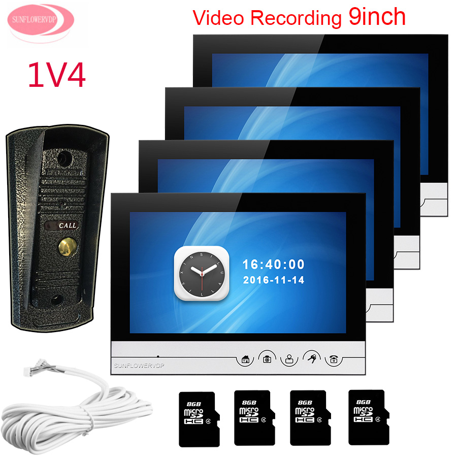 For 4 Apartments 9 Home Video Door Phone Video With Recording + 8GB TF Card System Unit 1 Night Vision Metal Waterproof Camera