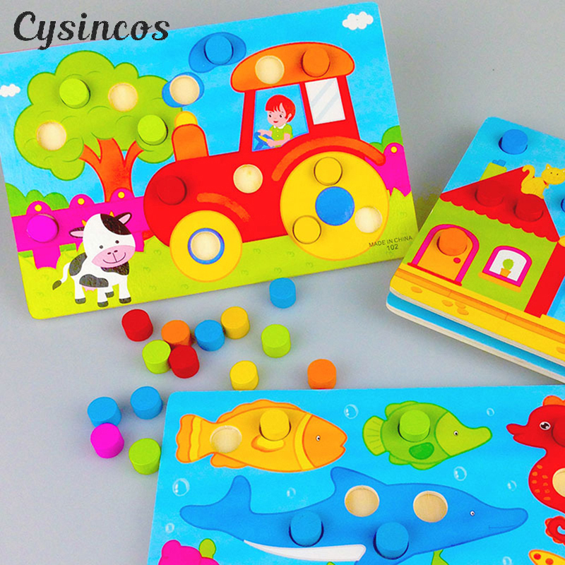 CYSINCOS 3D Wooden Puzzles Color Cognition Board Kids Educational Montessori Toys Children Jigsaw Cartoon Match Games Baby Gift