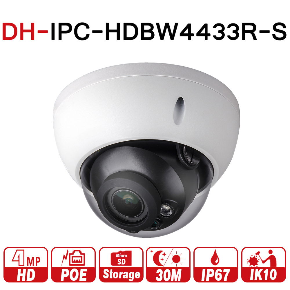 DH IPC-HDBW4433R-S 4MP IP Camera Replace IPC-HDBW4431R-S With POE SD Card Slot IK10 IP67 Starnight Smart Detect with logo dahua ipc hdbw4431r s h2 65 4mp ik10 ip67 ip camera dh ipc hdbw4431r s with poe sd slot cctv camera multi languag firmware