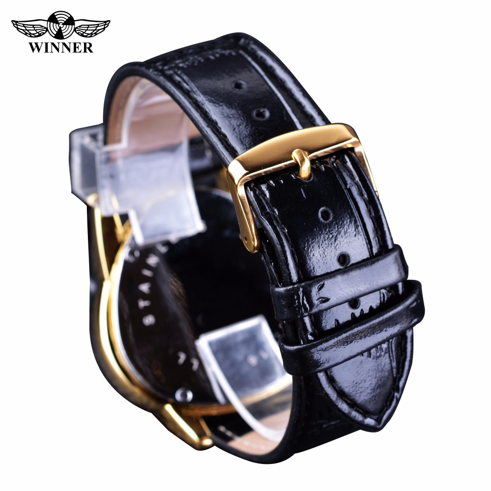 Winner Steampunk Fashion Triangle Golden Skeleton Movement Mysterious Men Automatic Mechanical Wrist Watches Top Brand Luxury