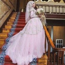 Arabic Pink Muslim Wedding Dress Dubai High NeckWith Hijab Lace Ball Gown Wedding Dress Turkish Bridal Gowns Vestdio De Noiva