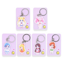 6 Styles Sailor Moon Keychain Keyrings Fashion Jewelry Key Chain Hot Sale Custom made Game Key Ring PSS217-222(China)
