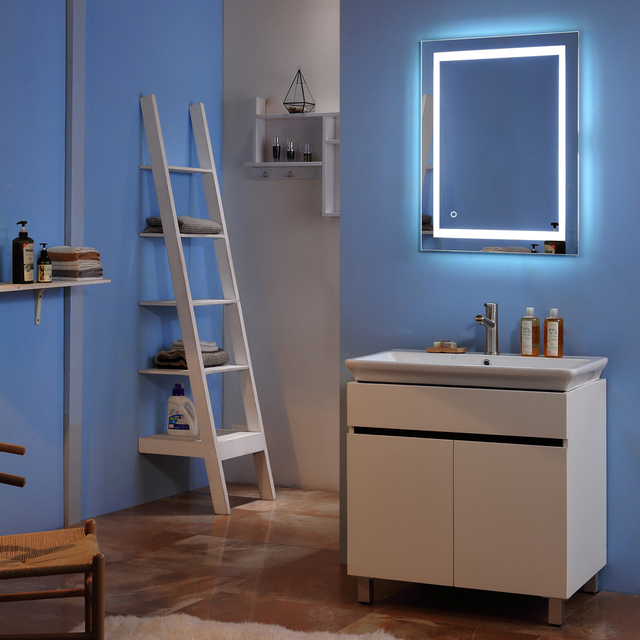 Square Wall Mount Bathroom Makeup Mirror Silver Aluminum Touch Screen LED Bathroom Vanity Mirror Lights with Magnifying Mirror 1
