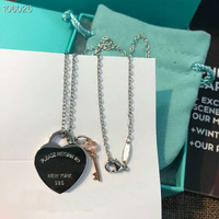100% 925 Sterling Silver Key and Heart Lock Pendants Choker Smooth Love Necklace Wedding Accessories Gift Box Packing