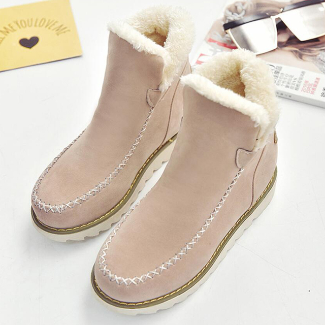 Women s Fashion Boot Casual Flat Ankle Boots Slip-On Winter Boots Women  Snow Boots  d1820e96ce