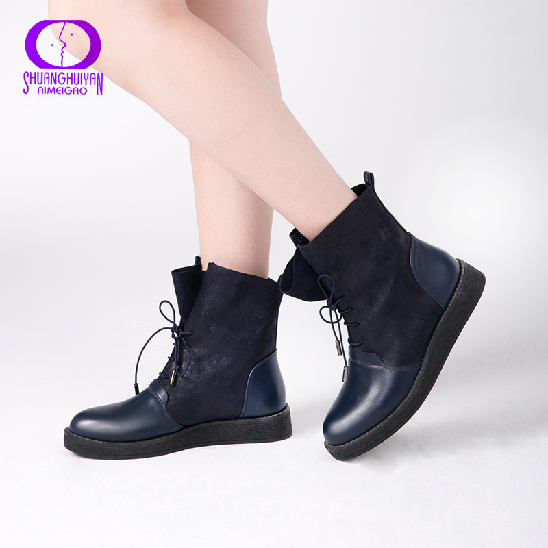 4d51dcffdca Detail Feedback Questions about AIMEIGAO New Autumn Women Ankle Boots  Platform Flats Women Lace Up Casual Boots Fashion Soft Leather Big Size  Boots For ...