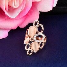 SINLEERY модные большие круглые опал челнок полые кольца для женщин Свадебная вечеринка ювелирные изделия Размер 6 7 8 9 10 розовое золото цвет Jz483 SSH