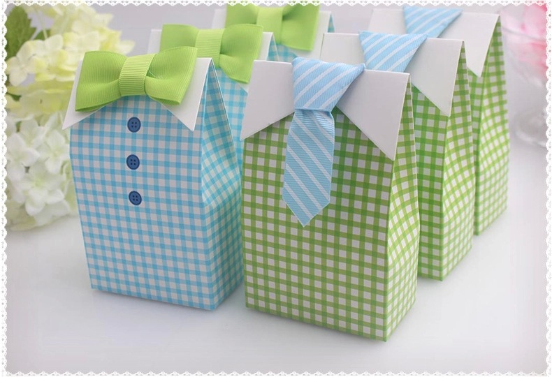 50 pcs My Little Man Blue Green Bow Tie candy box Birthday party decorations kids gifts Baby Shower Favor Treat Bag Wedding