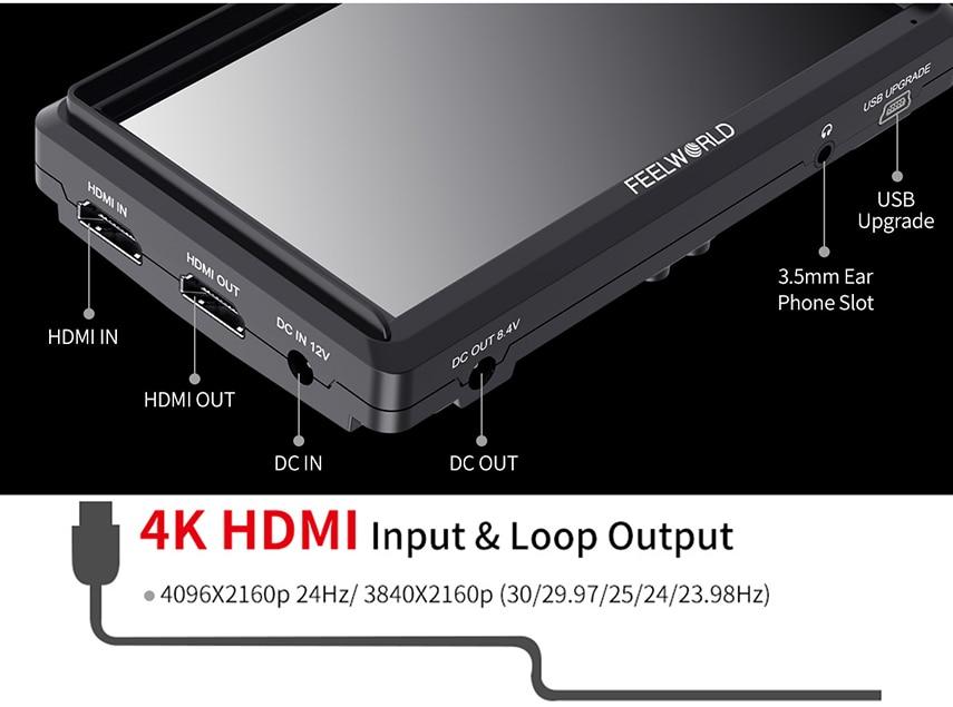 FEELWORLD S55 5.5 cal DSLR ekran aparatu 4K HDMI LCD IPS HD 1280x720 wyświetlacz monitor zewnętrzny 8.4V DC wyjście dla Canon Sony Nikon 8