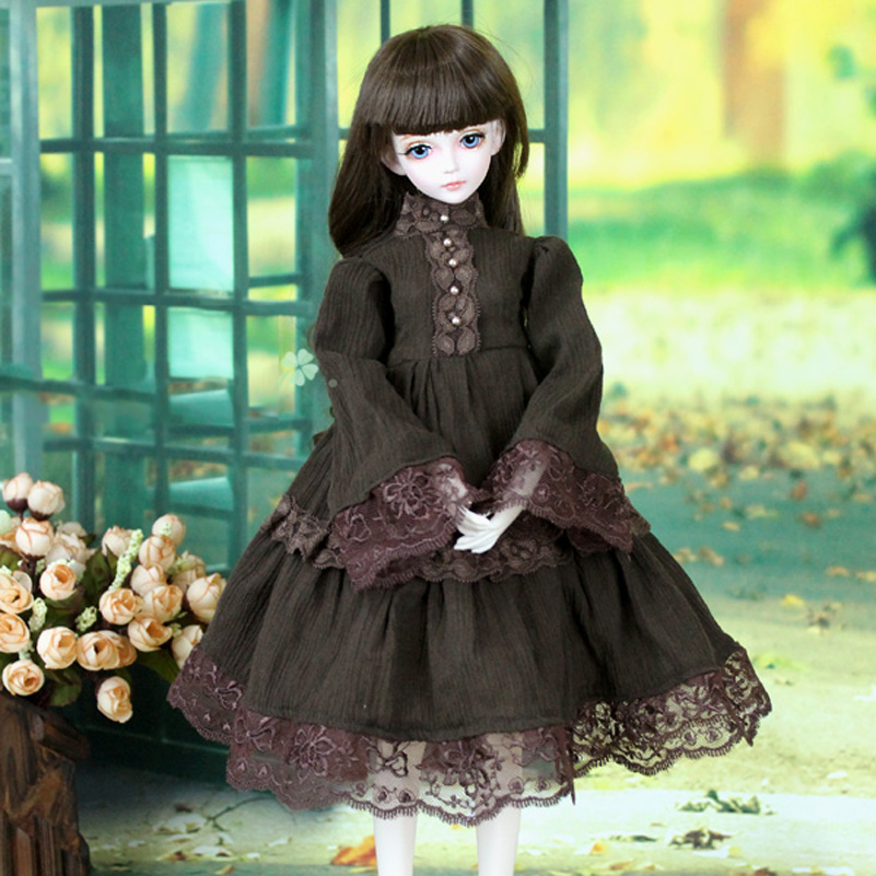 Princess Brown Cotton Western-style Dress 1/3 1/4 BJD Doll Clothes Clothing MSD SD BJD Clothes Doll Accessories Toys For Girls handsome grey woolen coat belt for bjd 1 3 sd10 sd13 sd17 uncle ssdf sd luts dod dz as doll clothes cmb107