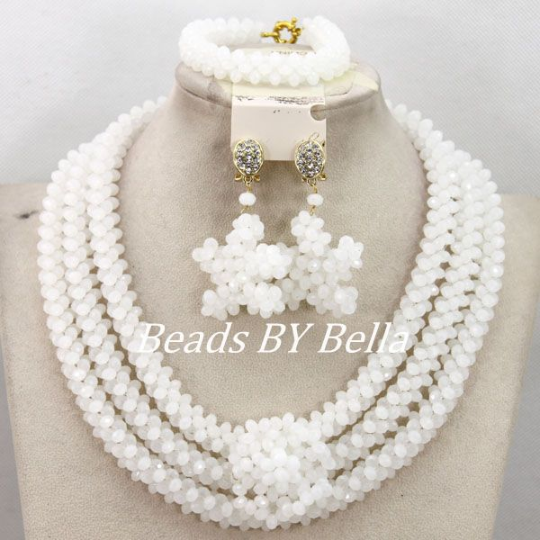 Fashion African Wedding Beads Jewelry Set Nigerian Bridal White Crystal Beads Necklace Jewelry Set Free Shipping ABY390 graceful white african bridal beads jewelry set nigerian crystal rhinestone bridesmaid women wedding necklace free ship qw677