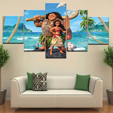 5Piece Canvas Print Moana Painting Movie Poster Brave Maui Wall Frame Pictures For Kids Room Decoration Art