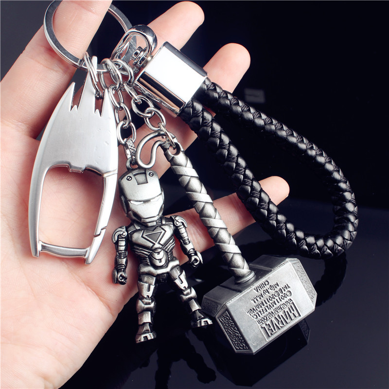 The Avengers Marvel Hero Iron Man Spiderman Keychain Keyring For Women Bag Car Key Chain Trinket Jewelry Gift Llavero