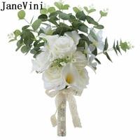 JaneVini Creme Branco Flores Do Casamento Para O Homem do Lírio de Calla Rosas Dama de honra Bouquets De Casamento Nupcial Bouquet Artificial Flor Do Noivo|Buquês de casamento|   -